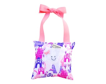 Tooth Fairy Pillow Girls Tooth Fairy Gift Personalized Tooth Fairy Pillow Personalized Kids Tooth Fairy Pouch in Pink and Purple Castles