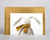 Stocking Stuffer - rabbit postcard - vivid photo of fabric modern handmade doll , Blank notecard + envelope ,greetings card - Nursery decor
