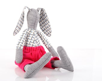 upcycled eco-friendly, Stuffed gray bunny rabbit doll wearing geometric blue retro shirt & neon hot pink corduroy - handmade fabric doll