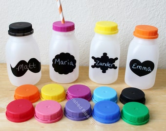 Plastic Milk Bottles 10 Baby Shower Plastic Milk Containers With Colored Lids With or Without Straw Holes Kids Table Labels Kids Party Cups