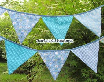 Bunting, Fabric Bunting Garland Light Blue Baby Blue Photography Prop Decorations Penant Flags Banners Garlands Baby Shower Wedding Reusable