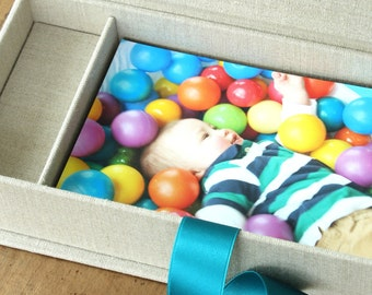 Photo and USB Box, 100-print Proof Box, 4x6 Photo Box. Shown in Natural Linen and Turquoise.  Custom Order.