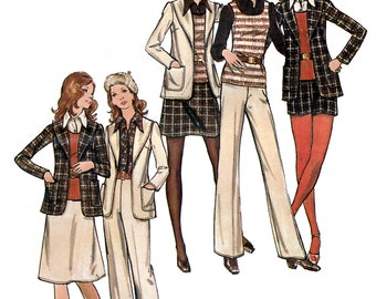 Butterick 6508 Vintage 70s Misses' Jacket, Skirt, Pants, Shorts & Top Sewing Pattern - Uncut - Size 8 - Bust 31.5