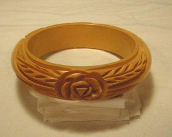 Rare Carved Bakelite Bangle Bracelet with Heavily Carved Rose Design Vintage