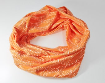 Orange dotted scalloped print cotton jersey knit infinity circle scarf