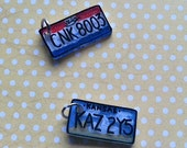 "Supernatural Inspired Friendship Charms ~ Impala License Plates ~ ""Bi+ch"" and ""Jerk"""