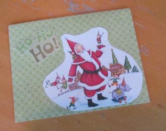 Winter or Christmas Card -- Mary Engelbreit upcycled Santa Ho Ho Ho