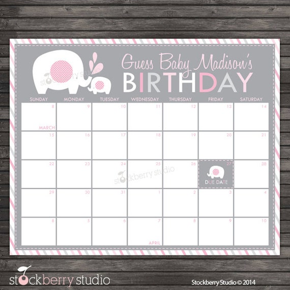 Elephant Baby Shower Guess the Due Date Calendar Printable - Pink and ...