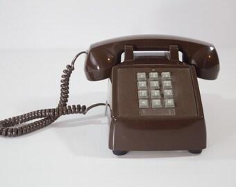 Vintage Brown Touch Dial Phone - Conair Phone Retro