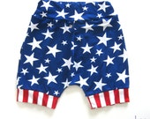 Red White Blue American Flag Harem Shorts, 4th of July, Memorial Day Patriotic Shorts for Baby Boy or Baby Girl