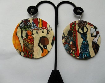 African women fabric circle round earrings basket skirt black 3""