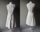 Vintage 70's A Line Nautical Neck Line Dress  -Off White - Size 10 - Medium Large