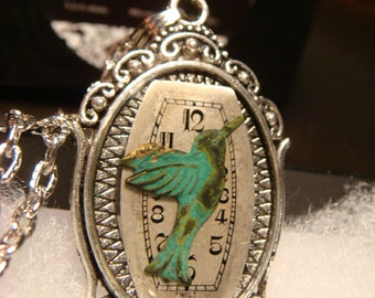 Victoran Style Watch Face with Hummingbird Pendant Necklace  - Upcycled Jewelry  (1853)