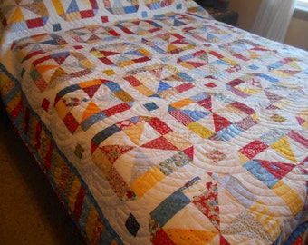 Queen Sized Quilt-Merry Go Round-Retro Look Pinwheel Quilt