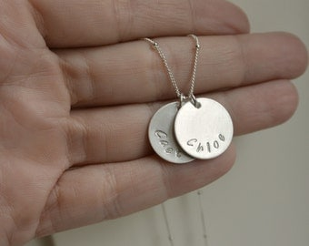 Personalized Mothers Necklace, Names Necklace, Hand Stamped Name Necklace, New Mom Sterling Silver Necklace, Name Pendant, Christmas Gift
