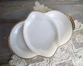 Milk Glass Divided Dish / Vintage Fire King / White Milk Glass Gold Trim / H'orderve Plate Serving Tray / Vanity Dish / Mid Century