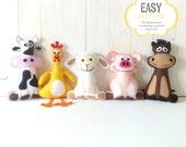 Farm Animal Softie Patterns, Felt Stuffed Barnyard Animal Patterns, Plush Cow, Chicken, Sheep, Pig & Horse, Easy Hand Sewing