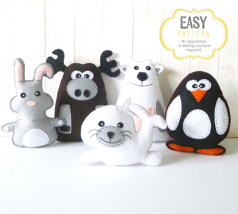 sewing templates for stuffed animals - stuffed animal sewing patterns polar animals arctic animals
