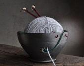 Yarn Bowl Ready To Ship Black and Greenish Blue Yarn Bowl by Symmetrical Pottery