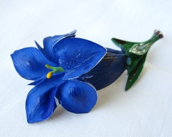 Vintage Gentian Blue flower Brooch or pin in celluloid early plastic Gift for a Gardener FREE SHIPPING
