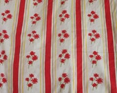 Burst of Red Floral and Striped Vintage Full Flat Sheet