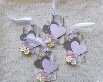 Gift Tag, Valentine's Day, Shabby Chic, Scrapbooking, Lace Hang Tag, Love,