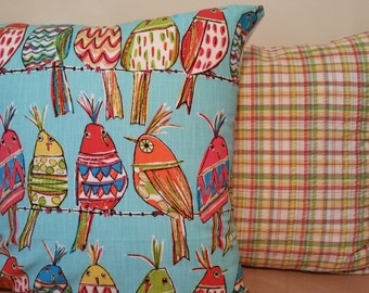 colorful tropical bird  pillow cover, cushion cover, select your size and color