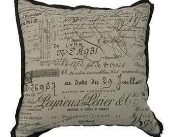 Script brown on natural pillow cover French Laundry