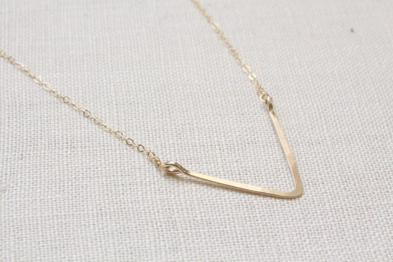 Hand formed chevron V necklace in 14k gold filled