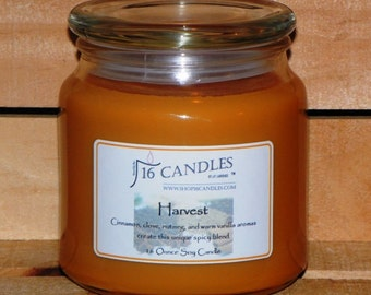 Harvest Soy Candle ~ 16 Ounce Jar ~ Fall Cinnamon and Clove House Warming Fragrance ~ 16 Candles by J.P. Lawrence