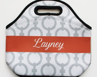 CHAIN monogrammed lunch tote - with customizable pattern and monogram