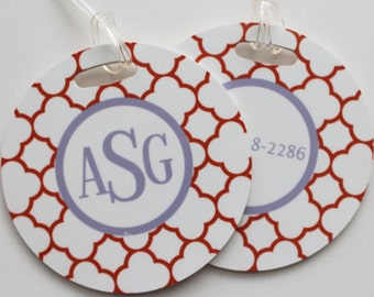 CLOVER REVERSE round luggage tags with custom monogram - set of 2