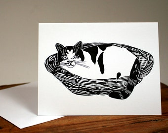 Cat note card, kitty cat in basket, smiling cat, pussy cat greeting card, blank feline card, cat lover, basket lover, chat, gato, possessive