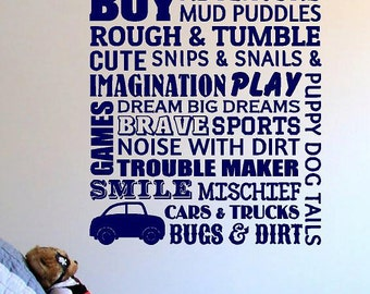 Boys Room-Vinyl Lettering  decals wall words decal graphics Home decor itswritteninvinyl