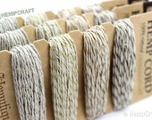Hemp Twine, Metallic Silver, Gold, Copper, and Bronze Color Card 1mm Variety Pack