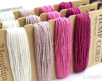 Hemp Twine, Rose Color Card - High Quality 20lb 1mm Four Pack Craft Cord