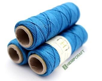 Micro Macrame Cord, Thin Blue Hemp Twine, Turquoise High Quality .5mm Craft String