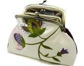 Embroidered Silk Flower Coin Purse Wallet Clutch Purple Pink Green Leaf Kiss Lock Pocket Double Frame Metal