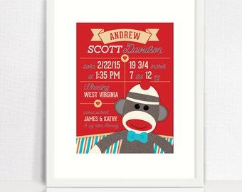 Sock Monkey Birth Print - Sock Monkey Wall Art - Sock Monkey Nursery Decor - Sock Monkey Baby Print - Printable Birth Announement