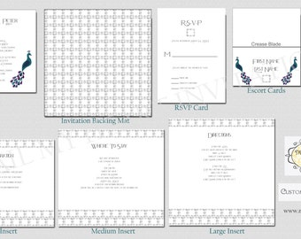 1920s Peacock Invitation - Wedding Invitation - DIY Invitation - Peacock Invite - Mail My Heart