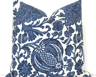 Blue Batik Modern Designer Decorative Pillow Cover navy indigo floral cream ivory boho azure