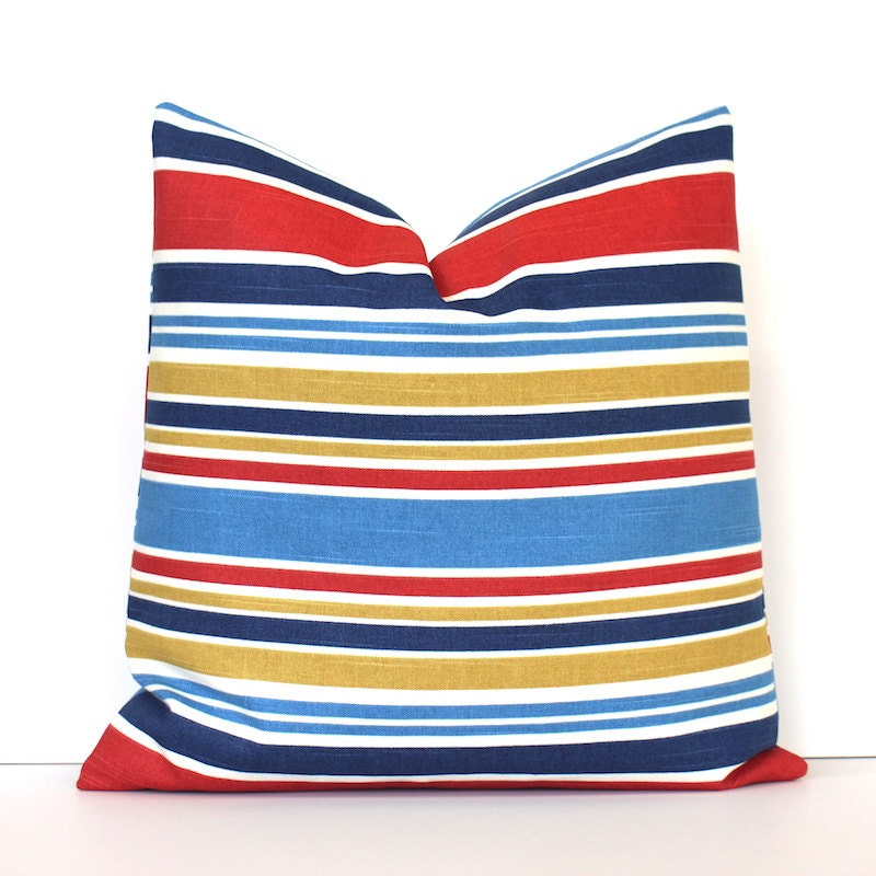 Navy Red and Yellow Stripe Decorative Designer Pillow Cover