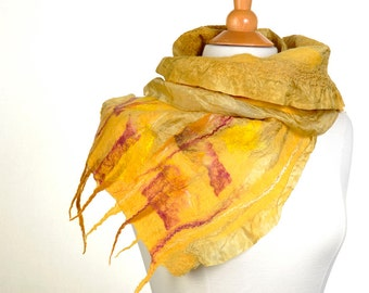 Nuno felted scarf  / merino wool / mulberry silk / hand felted / wearable art