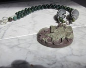 Bloodstone, Onyx and Ribbon Jasper Natural Stone and Crystal Base Root Chakra Balancing Necklace with Jasper Parrot Pendant.