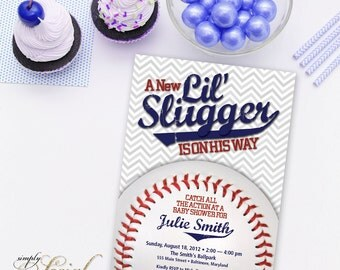 Little Slugger Baseball Theme Baby Shower Invitation with Grey Chevron
