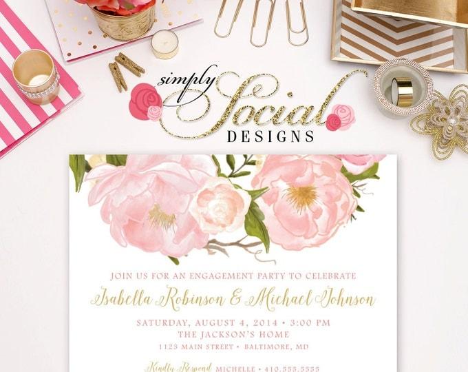 Romantic Garden Peonie Flowers Blush Pink Engagement Party Invitation Printable