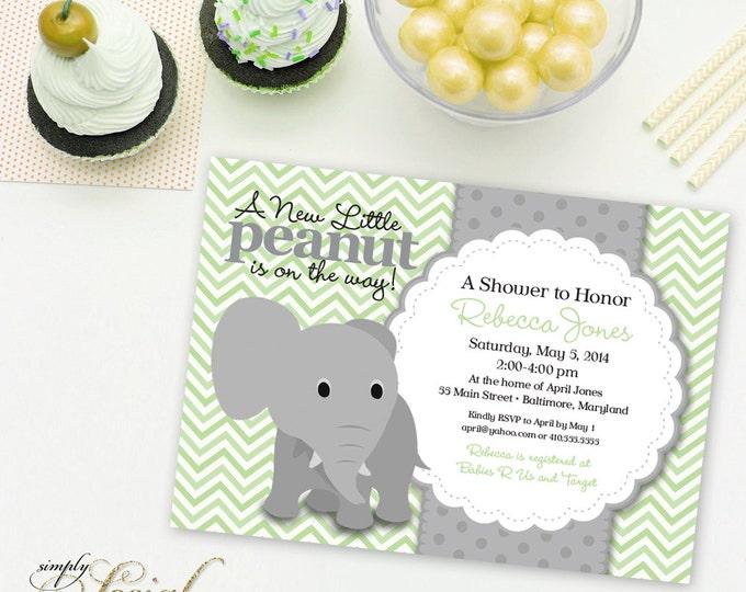 Elephant Baby Shower Invitation Mint and Grey Little Peanut Printable