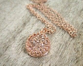 Rose Gold Druzy Necklace, Titanium Druzy Quartz Necklace, Druzy Quartz Jewelry, Gemstone Necklace, Crown Setting, Layering Necklace