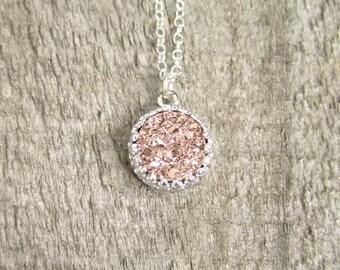 Rose Gold Druzy Necklace, Titanium Druzy Quartz Necklace, Sterling Silver Bezel Set, Crown Setting