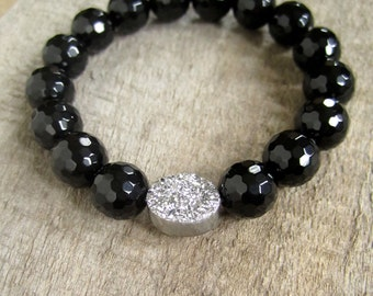 Silver Druzy Bracelet, Druzy Quartz Jewelry, Drusy Bracelet, Wrap Bracelet, Stretch Bracelet, Black Onyx Beaded Bracelet